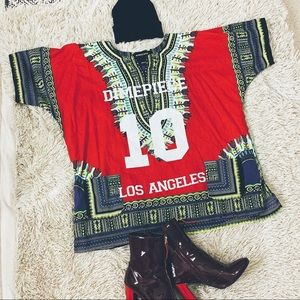 DIMEPIECE Red Oversized Dashiki